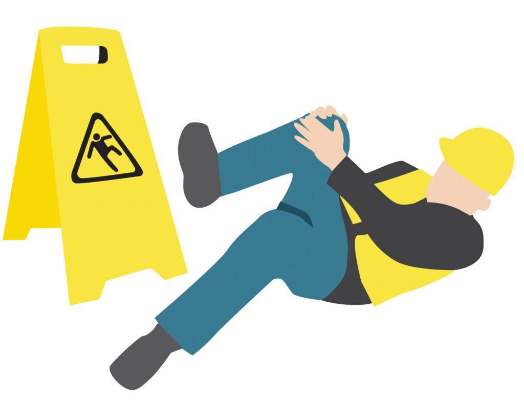 Caídas y resbalones en el trabajo